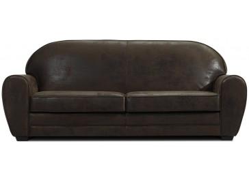 Canapé 3 places microfibre aspect cuir vieilli marron - Marta