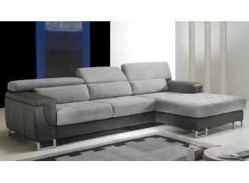 Canapé d'angle droit cuir/microfibre gris haut de gamme italien