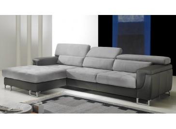 Canapé d'angle gauche cuir / microfibre gris - Théo