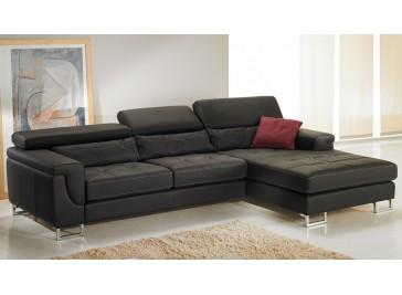 Canapé d'angle droit cuir noir - Théo