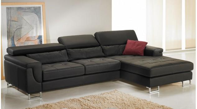 Canapé d'angle droit cuir éco noir - Théo