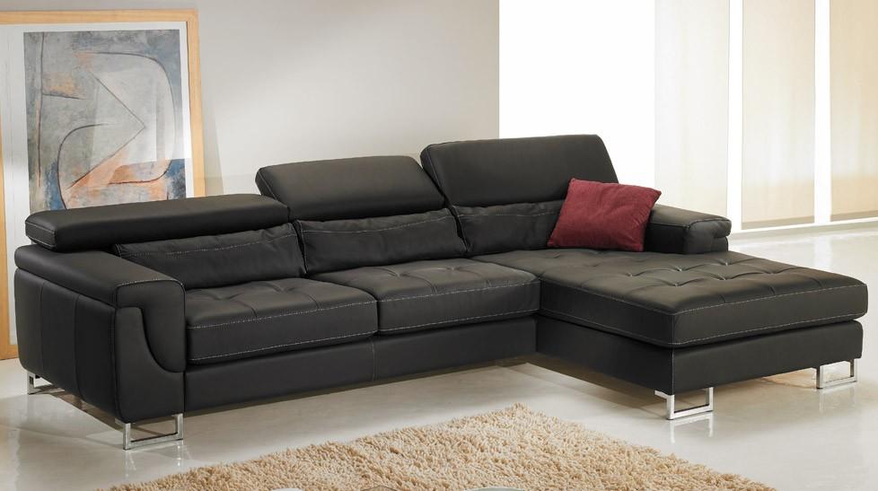 Canapé d\'angle droit cuir noir - Canapé angle pas cher