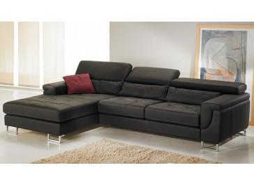Canapé d'angle gauche cuir noir - Théo