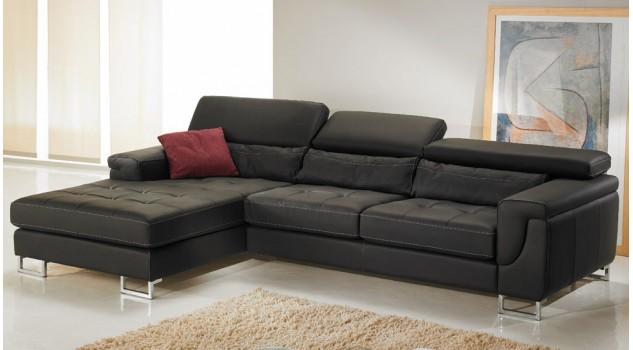 Canapé d'angle gauche cuir éco noir - Théo