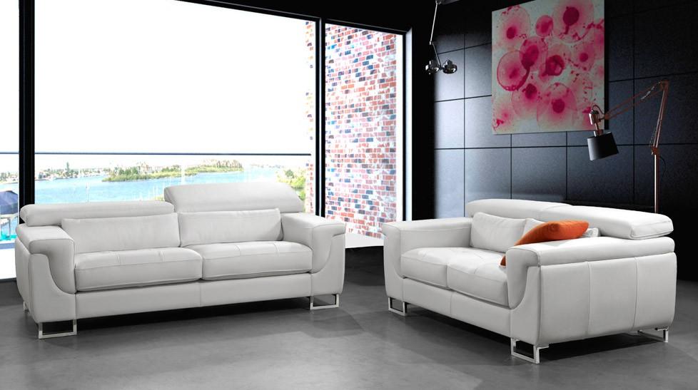 Canapé 3 2 places cuir blanc Salon pas cher