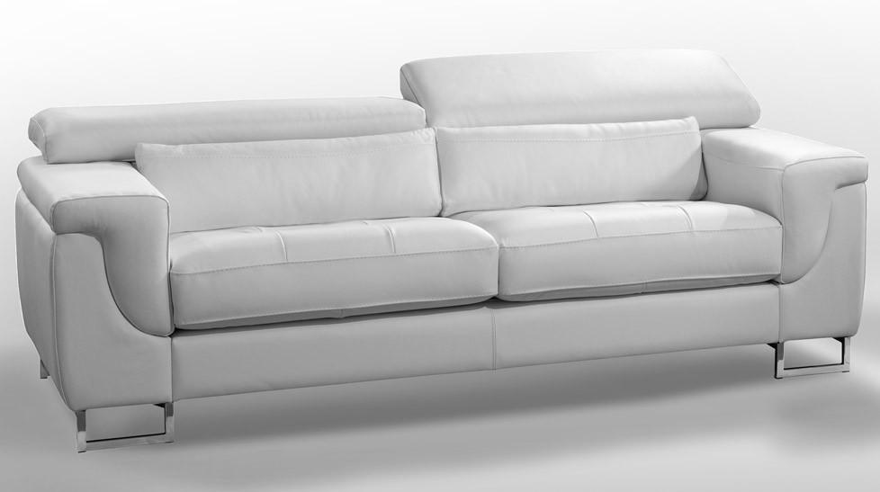 la meilleure attitude c30d2 3260f Salon 5 places cuir blanc - Michel