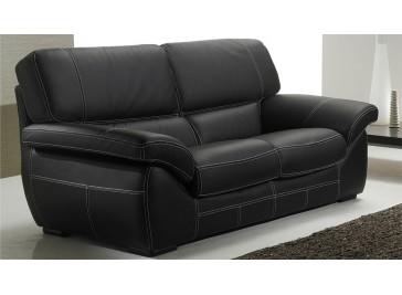 Canapé 2 places en cuir noir - Polo