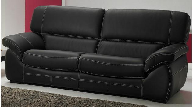 Canapé 3 places en cuir noir - Polo