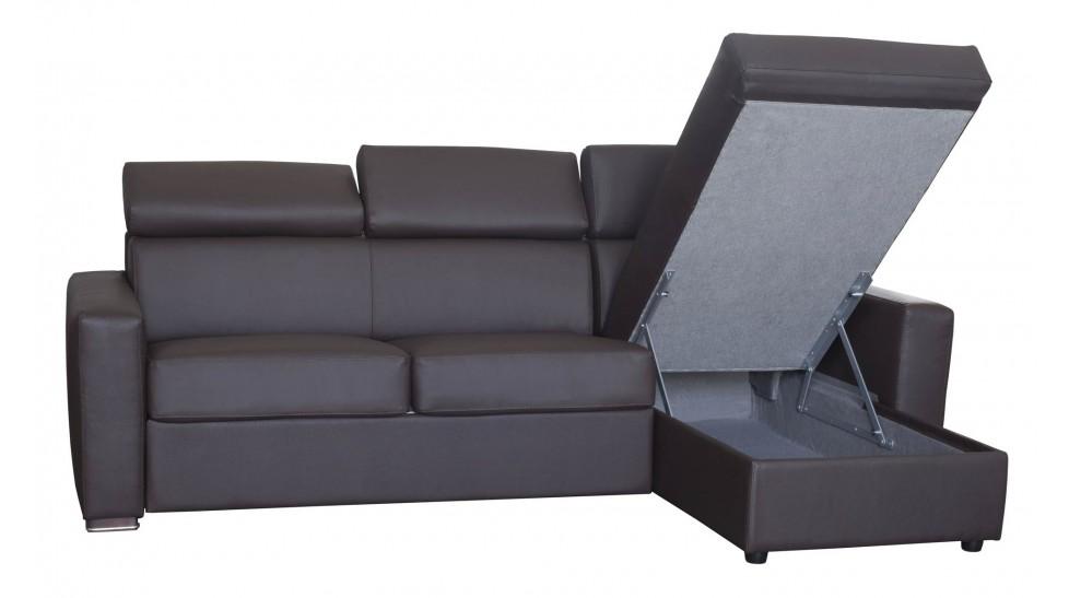 canap d 39 angle r versible et convertible en cuir marron 3 places lit 120 cm. Black Bedroom Furniture Sets. Home Design Ideas