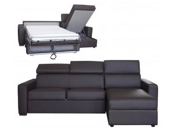 Canapé d'angle réversible et convertible cuir marron 4P - Daniel