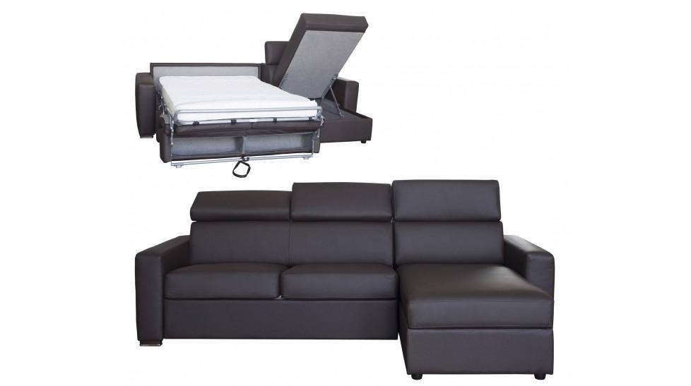 en soldes d8515 239c3 Canapé d'angle réversible et convertible cuir marron 4P - Daniel
