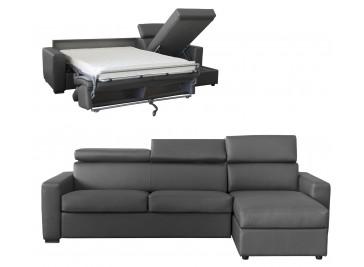Canapé angle convertible 4 places lit 120 cm cuir gris anthracite - Daniel