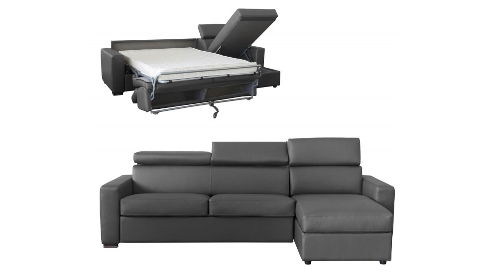 canap angle convertible 4 places lit 120 cm cuir gris anthracite daniel - Canape Angle Gris Anthracite