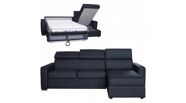 canap angle convertible pas cher en cuir noir. Black Bedroom Furniture Sets. Home Design Ideas