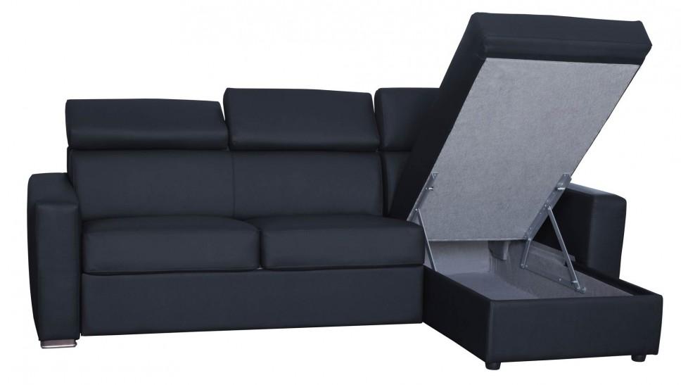 Canapé angle convertible pas cher en cuir noir