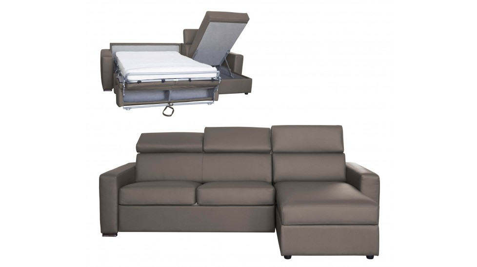 canap d 39 angle r versible et convertible en cuir 5 places. Black Bedroom Furniture Sets. Home Design Ideas