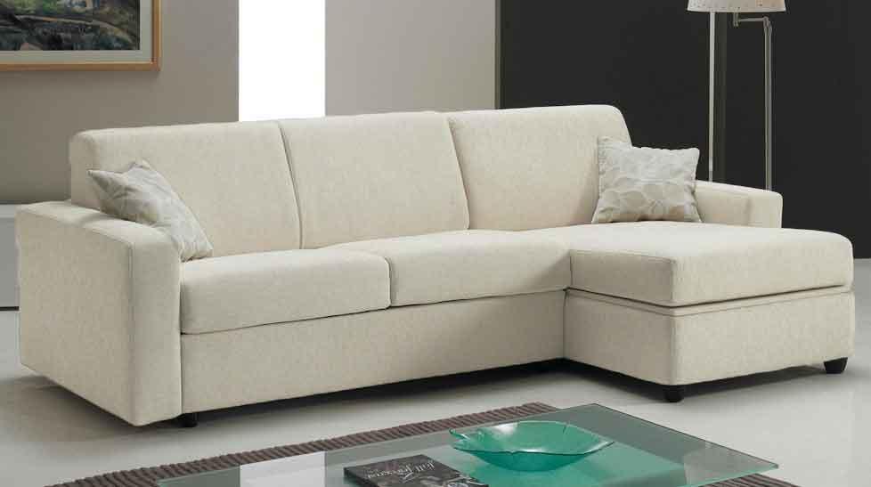 canap lit angle reversible couchage 120 cm tissu blanc cass pisa - Canape Pas Cher Tissu