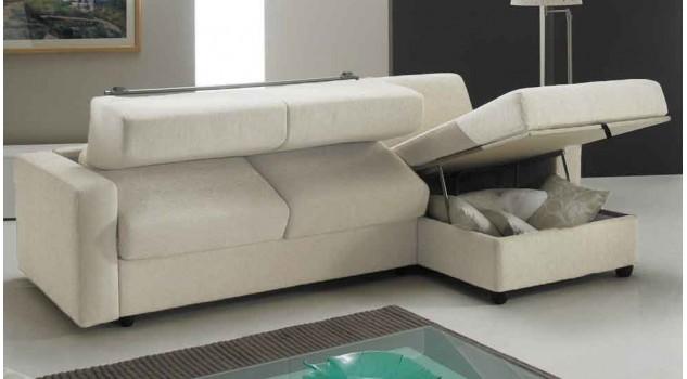 Canapé lit angle réversible couchage 140 cm tissu blanc cassé - Pisa