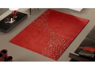 Tapis design en laine rouge haut de gamme - Loxton