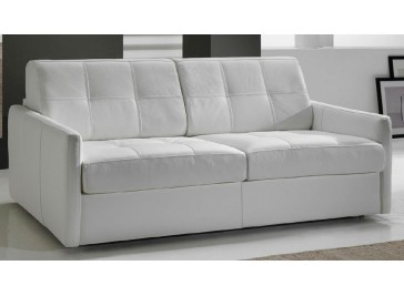 Canapé convertible en cuir 3 places lit 140 cm - Kelly