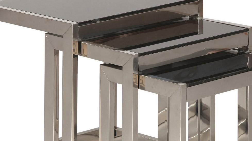 Ensemble de tables gigognes en inox et verre tremp noir mobilier design pas cher for Tables gigognes verre