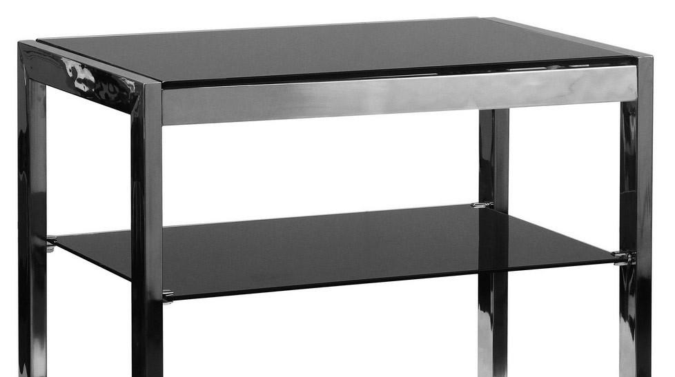 etag re 4 plateaux en inox et verre tremp noir meuble design pas cher. Black Bedroom Furniture Sets. Home Design Ideas