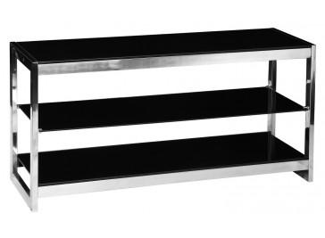 Meuble TV inox et verre trempé noir
