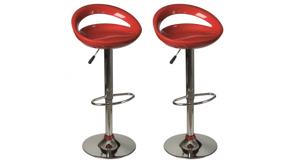 Lot de 2 tabourets de bar pas cher tabouret design rouge - Tabouret de bar design rouge ...