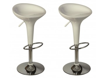 Lot de 2 tabourets de bar design blanc