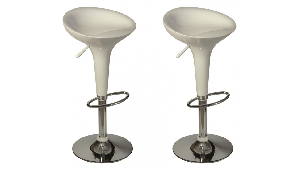 lot de 2 tabourets de bar design blanc - Tabouret Bar Design