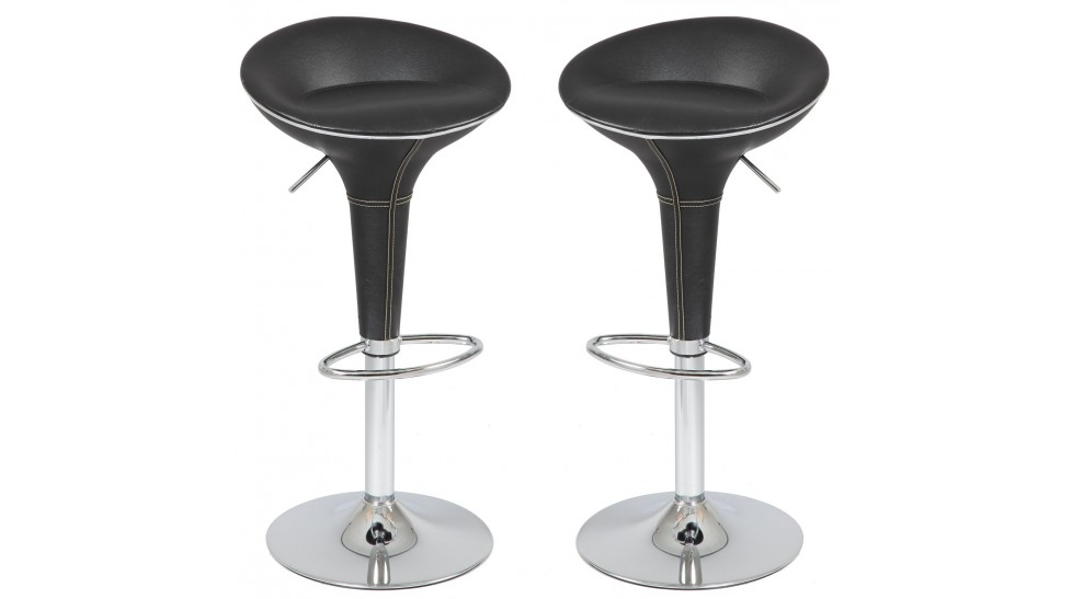 tabouret de bar design en simili cuir noir tabouret design pas cher. Black Bedroom Furniture Sets. Home Design Ideas