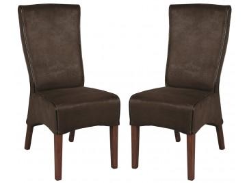 Lot de 2 chaises dossier haut microfibre chocolat