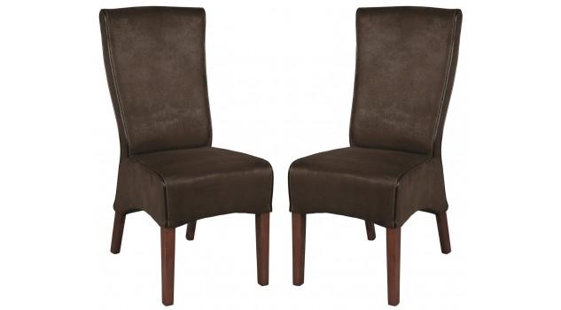 Lot de 2 chaises dossier haut microfibre marron