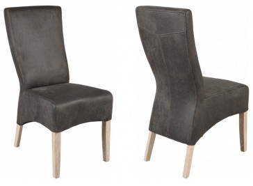 Lot de 2 chaises design en microfibre gris
