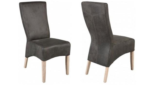 Lot de 2 chaises design en microfibre gris