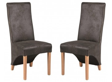 Chaise design microfibre grise - lot de 2 chaises