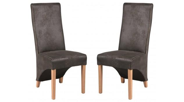 Chaise design microfibre grise - lot de 2 chaises