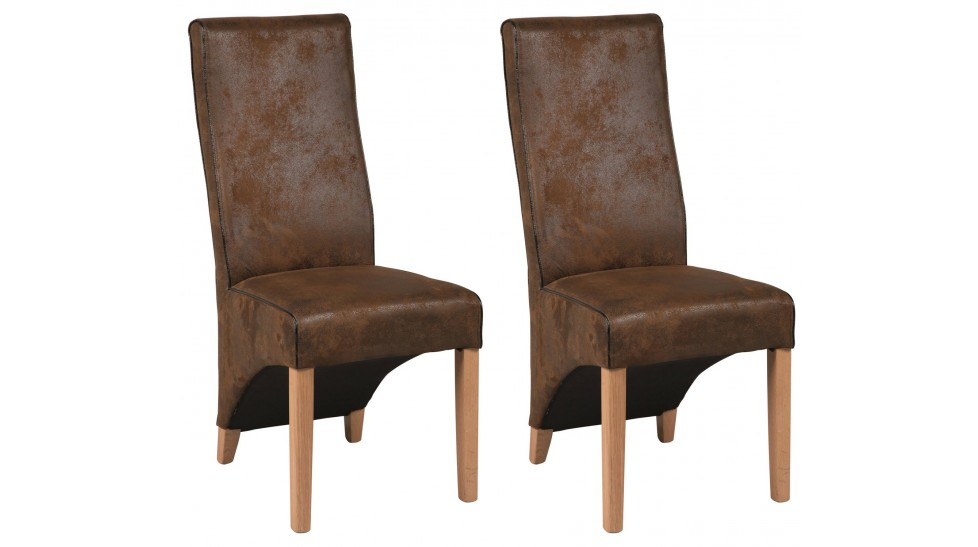 lot de 2 chaises en microfibre marron aspect cuir vieilli. Black Bedroom Furniture Sets. Home Design Ideas