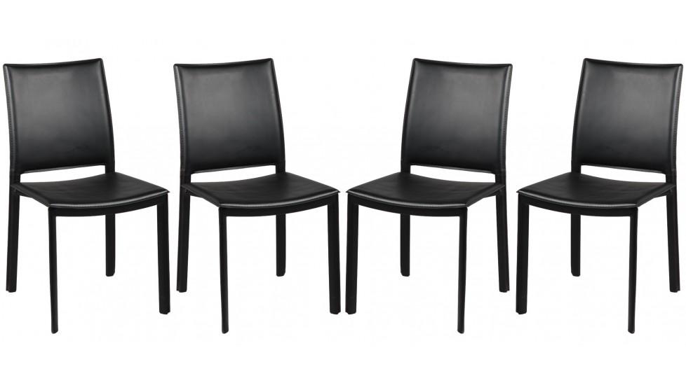 chaises par lot de 4 en pvc noir - Chaise Moins Cher