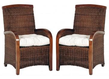 Fauteuils rotin et acajou - Lot de 2 fauteuils