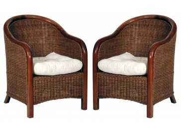 Lot de 2 fauteuils en rotin tressé