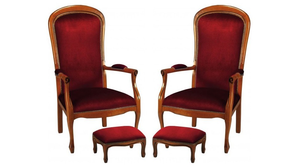 fauteuils voltaire en tissu velours bordeaux fauteuil de. Black Bedroom Furniture Sets. Home Design Ideas