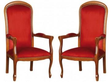 Lot de 2 fauteuils Voltaire bordeaux