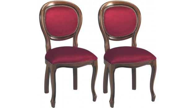 Chaises médaillon velours bordeaux (x2)