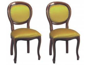 Chaises médaillon velours or (x2)
