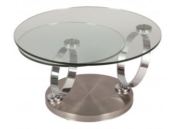 Table basse ronde en verre socle acier brossé