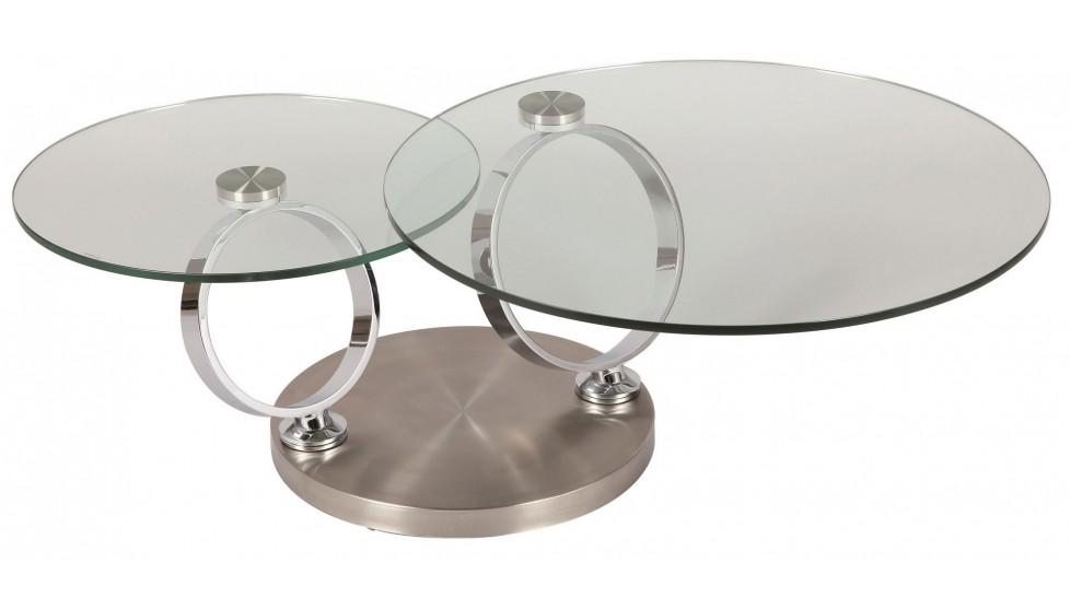 Table basse ronde en verre tremp et acier bross pas cher - Table en verre trempe blanc ...