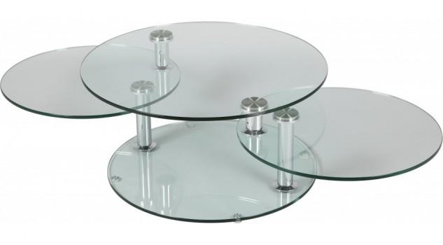 Table basse en verre ronde design 3 plateaux pivotants