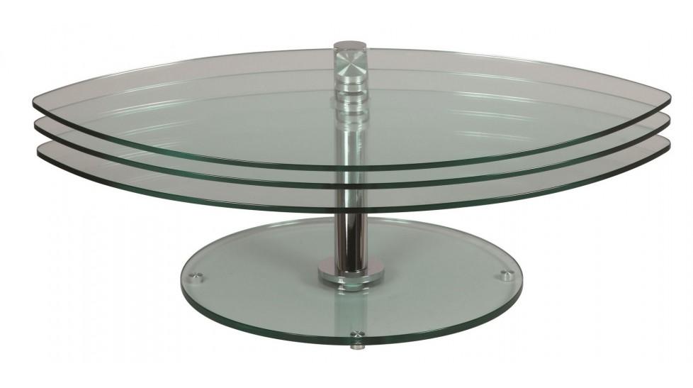 Table Basse Petale 3 Plateaux Pivotants En Verre
