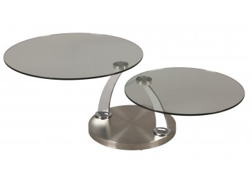 Table basse ronde double plateau pivotant en verre